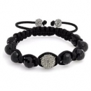 Faceted Black and Crystal Shamballa